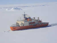 The South pole research vessel
